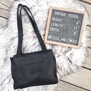Vintage Fossil black leather shoulder bag LARGE